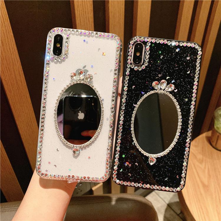 Casos de telefone transparente de espelho de maquiagem de luxo para iPhone 7 8plus xr x max 11 12 pro