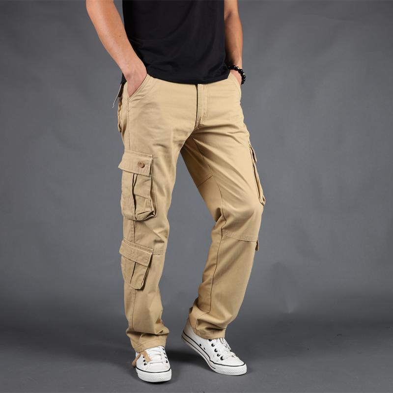 Pants Men Cargo Trousers Casual Cotton Multi Pocket Military Overalls Outwear Straight Long Joggers Army Tactical Work 44 Men's