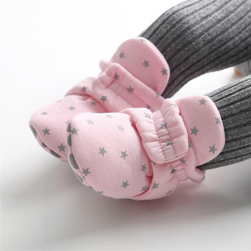 Primavera estrella impresión recién nacido baby calcetines zapatos muchachos niños primeros caminatas niños botines bebé algodón suave antideslizante zapato de cuna
