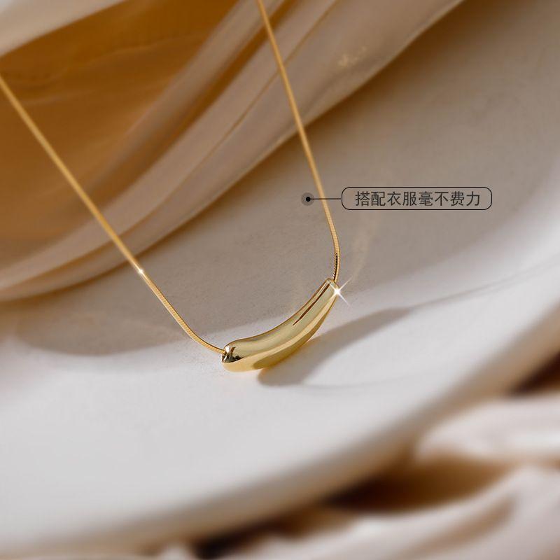Bijoux petit collier d'aubergines S925 Sterling Silver Style coréen Simple Chic Cold Wind Coudow Smile Accessoires 352