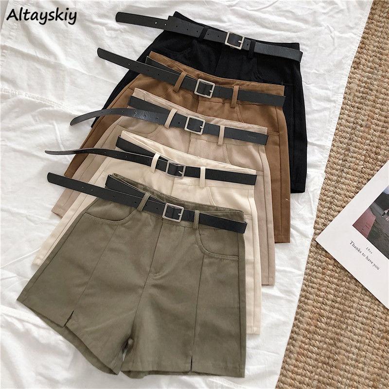 Pantalones cortos para mujer verano suave cintura alta casual simple señoras sólidas sólidas corta estilo coreano ancho pierna todo coincidencia 2021 albaricoque diariamente mujeres