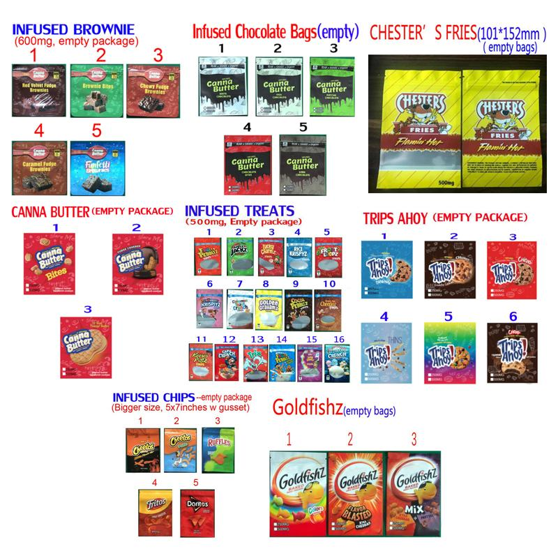 Galletas infundidas Chips de cereal Treats Chocolate Brownie Mylar Bolsos Runtz Flamin Folles Fritas Canna Mantequilla Viajes AHOY Goldfish Al horno Embalaje