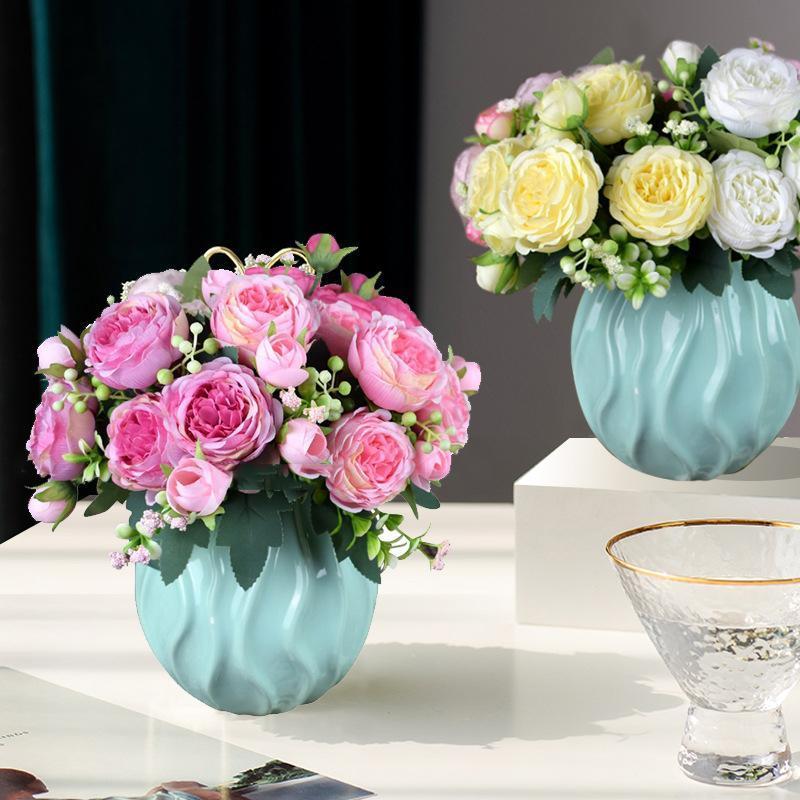 Flores decorativas grinaldas rosa buquê de seda rosa peony artificial diy noiva casamento decoração de casa falsificar rosas de natal falso