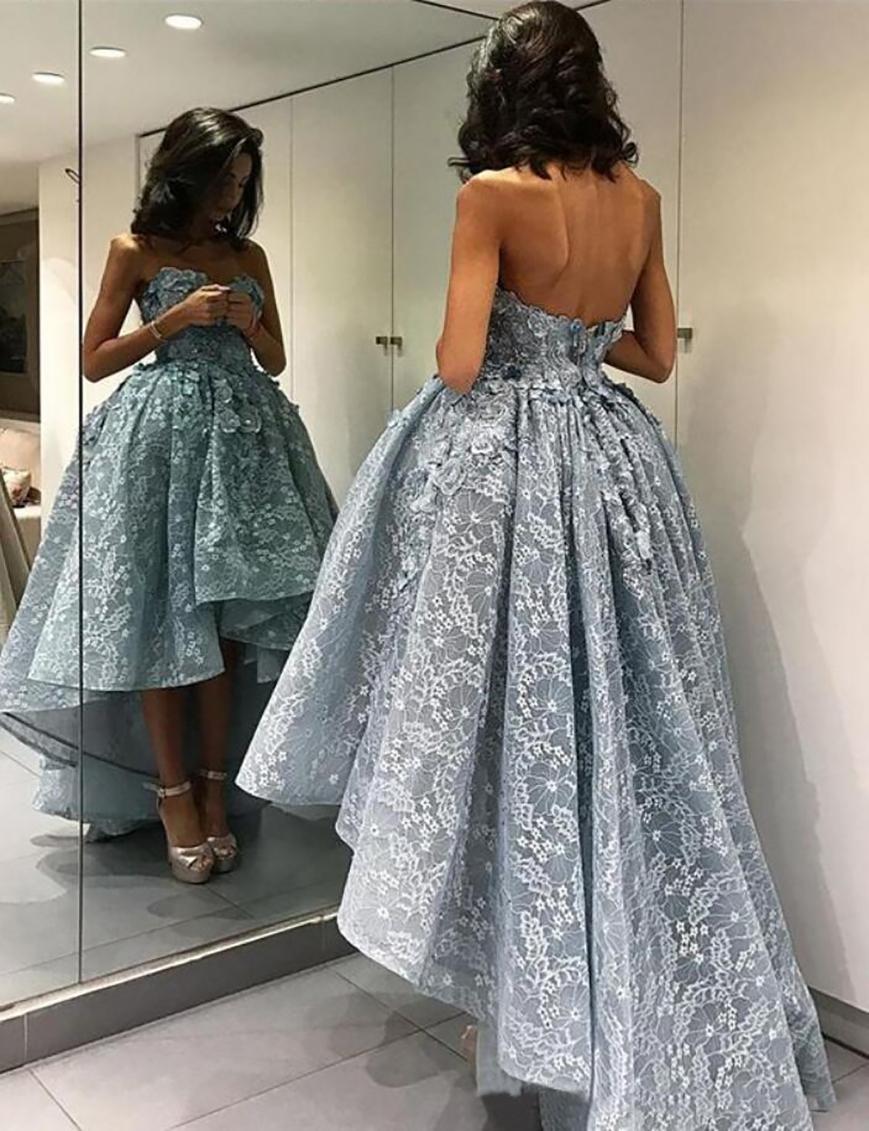 섬세한 Applique 높은 낮은 낮은 부푼 댄스 파티 드레스 짧은 프론트 긴 백 공 가운 이브닝 드레스 공식 파티 가운 PD2302
