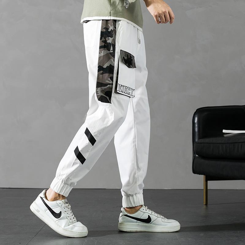 Calças masculinas Plus Size Verão Homens Jogger Streetwear Camuflagem Retalhamento Sweatpants Baggy Moda Masculina Calças de Carga de Comprimento Ankle