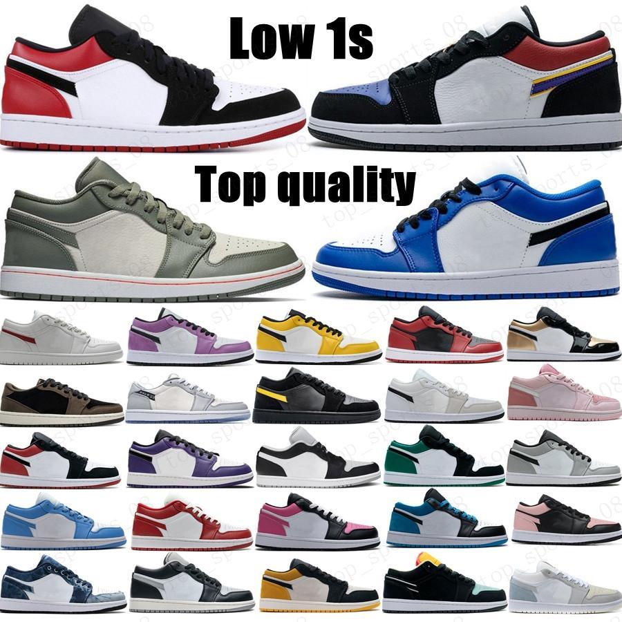 2021 Mens Jumpman Low 1 1S Sapatos de Basquete Top OG Black Toe Court roxo SP Travis Scotts Homens Mulheres Sneakers EUR 36-46 sem caixa