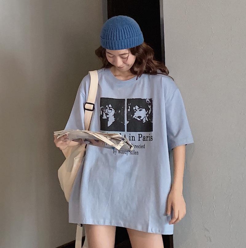 2021 Col à col rond style coréen Trapting lâche longueur moyenne usure de femme de grande taille personnalité chiffre chemise imprimée t-shirt manquant