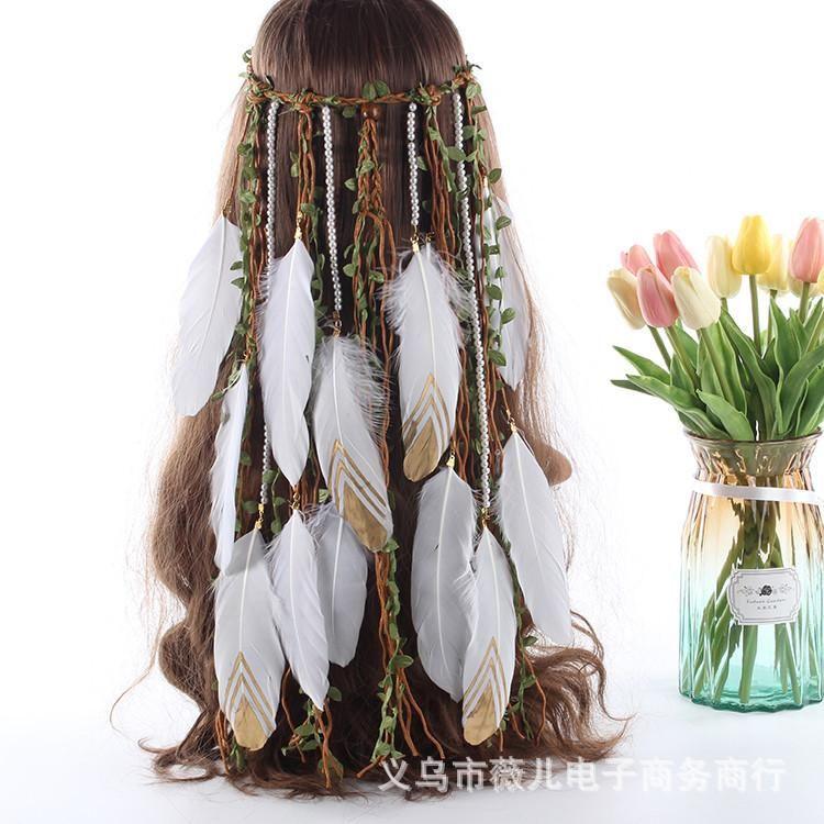 Penas Crown Crown -Selling Headdress Bohemian Hairband Exotic Hippie Pearl Hairbands Acessórios Clipes Barrettes
