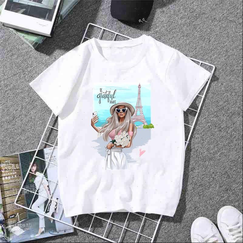 Frauen T-Shirt Zoganki Casual Hemden für Cartoon Drucken Weiß Sommer Weibliche T-Shirt Mode Kawaii Tops Streetwear