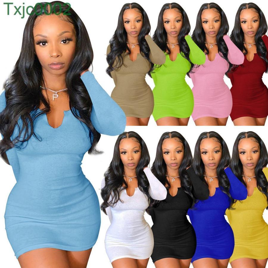 Women Dress Designer Slim Sexy Long Sleeve Short Skirt Summer Mini Skirts Solid Color Deep V-neck Hip Dresses Clothing 9 Colours
