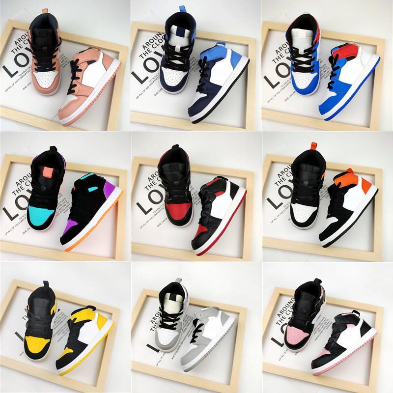 Niños Niños Multicolor Zapatillas de baloncesto 1S Kid Sneaker Game Royal Scotts Obsidian Chicago Bred Sneakers Boy Girl Melody Mid tie-tinte zapatos para niños