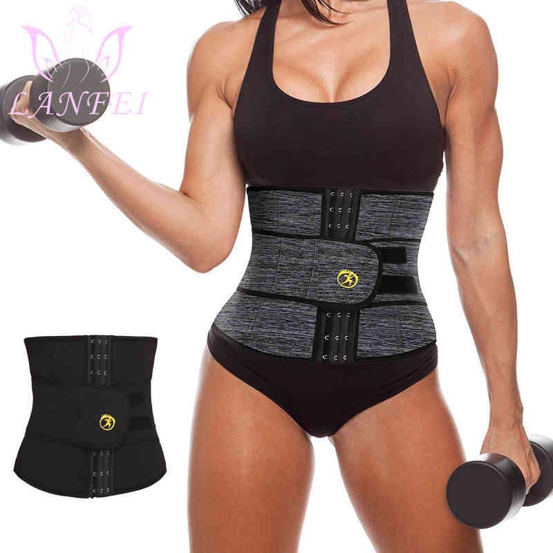 Lanfei neoprene suor cintura cronômetro mulheres perdem corpo shaper sauna sauna slimming cinta barriga controle gordura gordura cintura cintura espartilho 210326