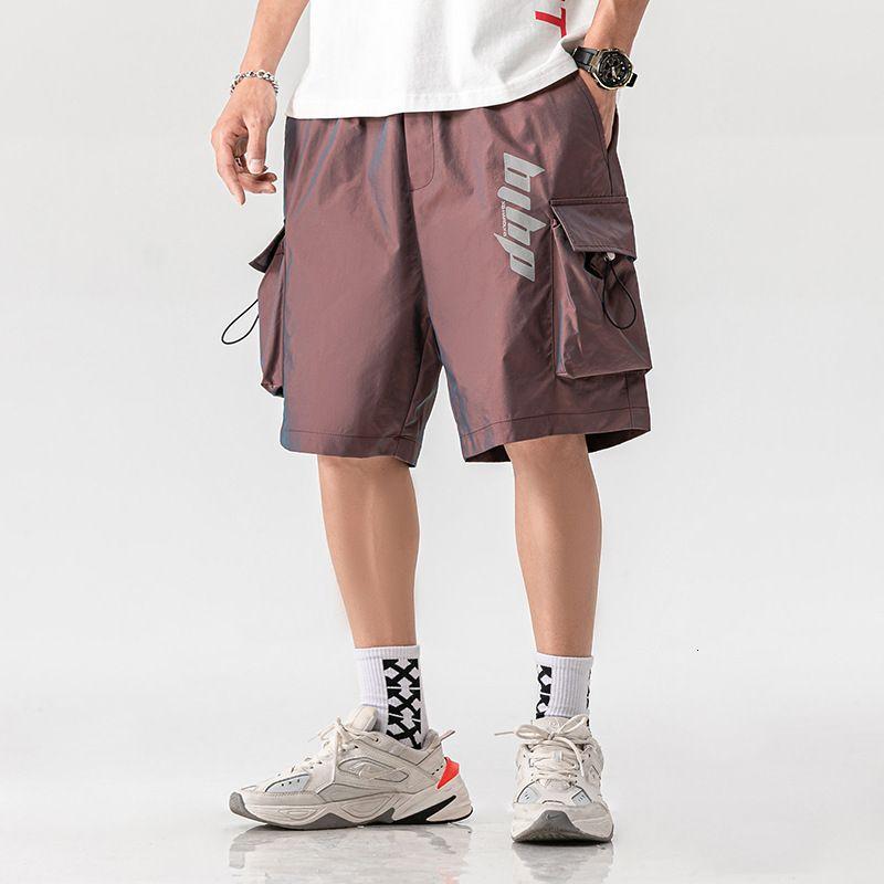 Pantalones cortos para hombres Reflexivo Reflectante Color Color Color Cortes Cortos Sueltos Hombre Hip Hop Capris Verano