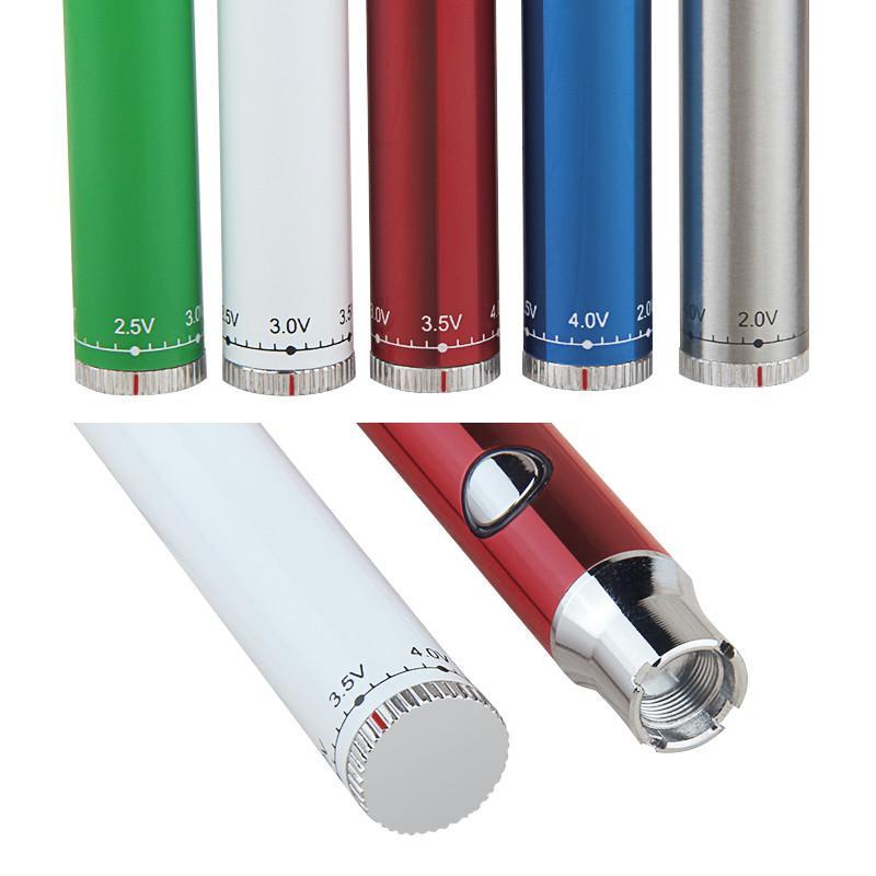 MOQ 10pcs Evod 예열 CO2 오일 배터리 380mAh 충전식 가변 전압 펜 하단 트위스트 예열 기능 카트리지 510 스레드