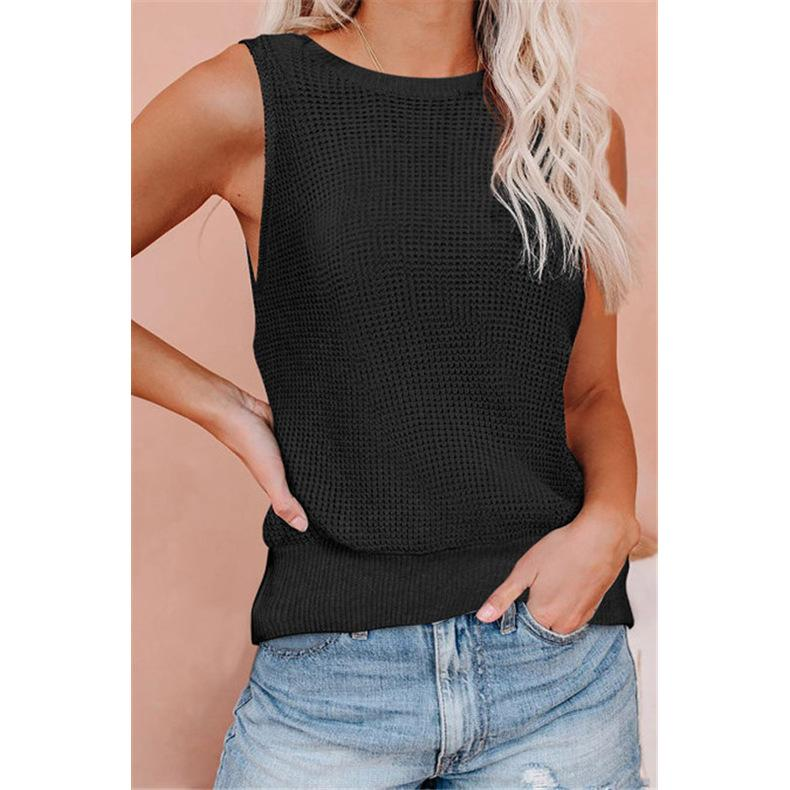 2021 Cross-Border European and American Spring/Summer New Womens Tops Waffle Deep V-neck Backless Sexy Vest T-shirt Sweater