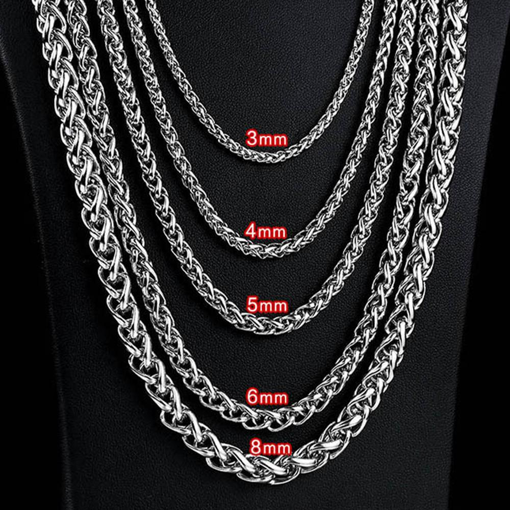 Collana in acciaio inox 3mm / 4mm / 5mm / 6mm Collana in acciaio inox Spiga Collegamento per uomo 45 cm-75 cm Lunghezza con sacchetto di velluto