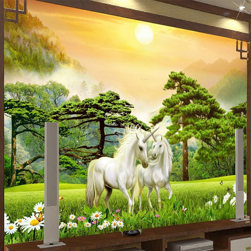 Papéis de Parede Pintura Pintura Pintura Pôr do sol Branco 3D Animated Po Wallpaper Sala de estar Quarto Fundo de Parede Decoração de Casa