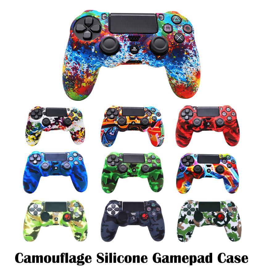 Camuflagem PS4 Controlador Soft Silicone Case Flexible Gel Borracha Capas De Pele Tampa Para Sony PlayStation 4 Controladores de Jogo Acessórios em estoque