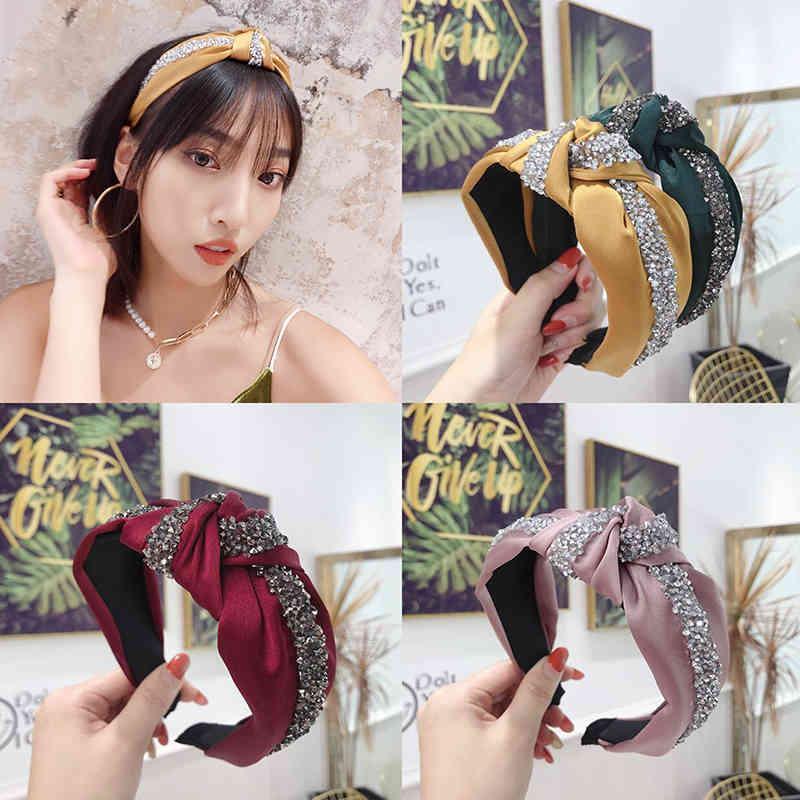 Moda brillante Rines Hairband Diadema Mujeres Lado Ancho Headwear Sólido Casual Headwear Turban Accesorios para el cabello al por mayor