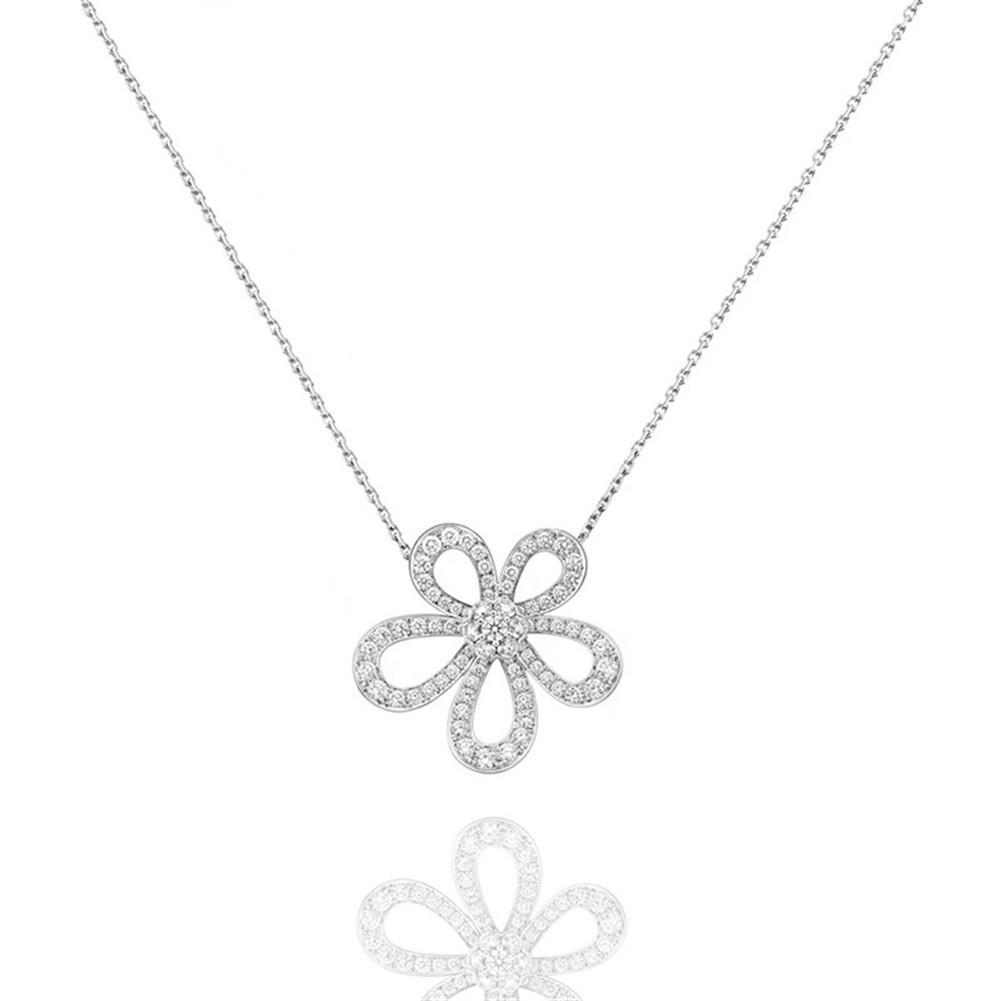2021 Diamante squisito Four Leaf Clover Camelia Ciondolo Clavice Catena Collana 18K oro moda classico per Van Womengirls Wedding San Valentino gioielli regalo