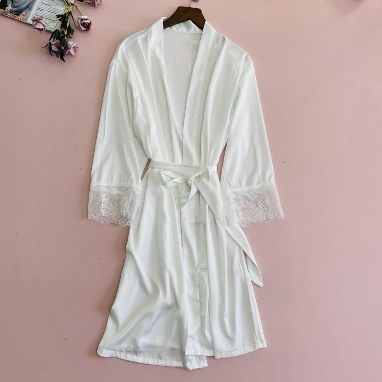 Noiva Branca Casamento Casamento Vestido Verão Mulheres Sleepwear Nightgown Casual Nightwear Silky Silky Sed Bathrobe Home Dress Mulheres