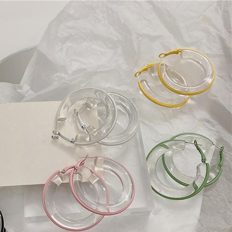 Hoop & Huggie Transparent Candy Color Circle Earrings For Women INS Korean Fashion Teen Girl Dating Jewelry 2021 Pendientes