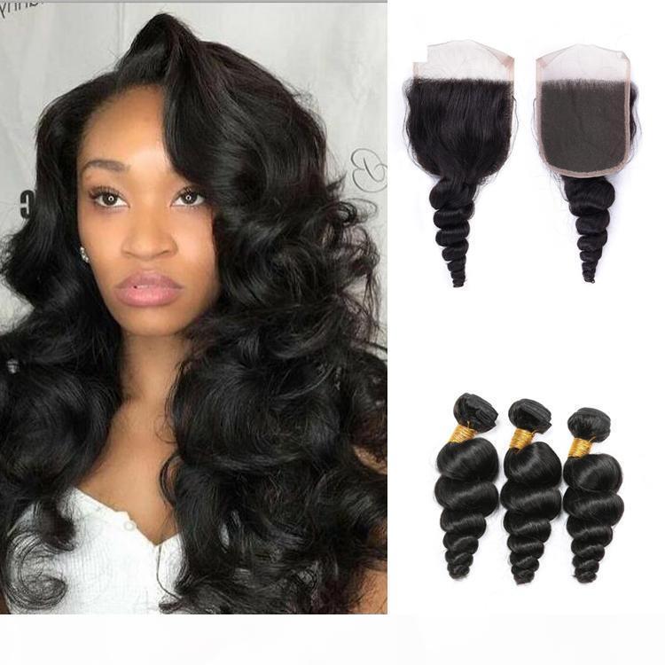 Pacotes de cabelo humanos da onda solta com os pacotes fracos do cabelo humano da onda frouxa da cutícula frontal com fechamento do laço 4x4
