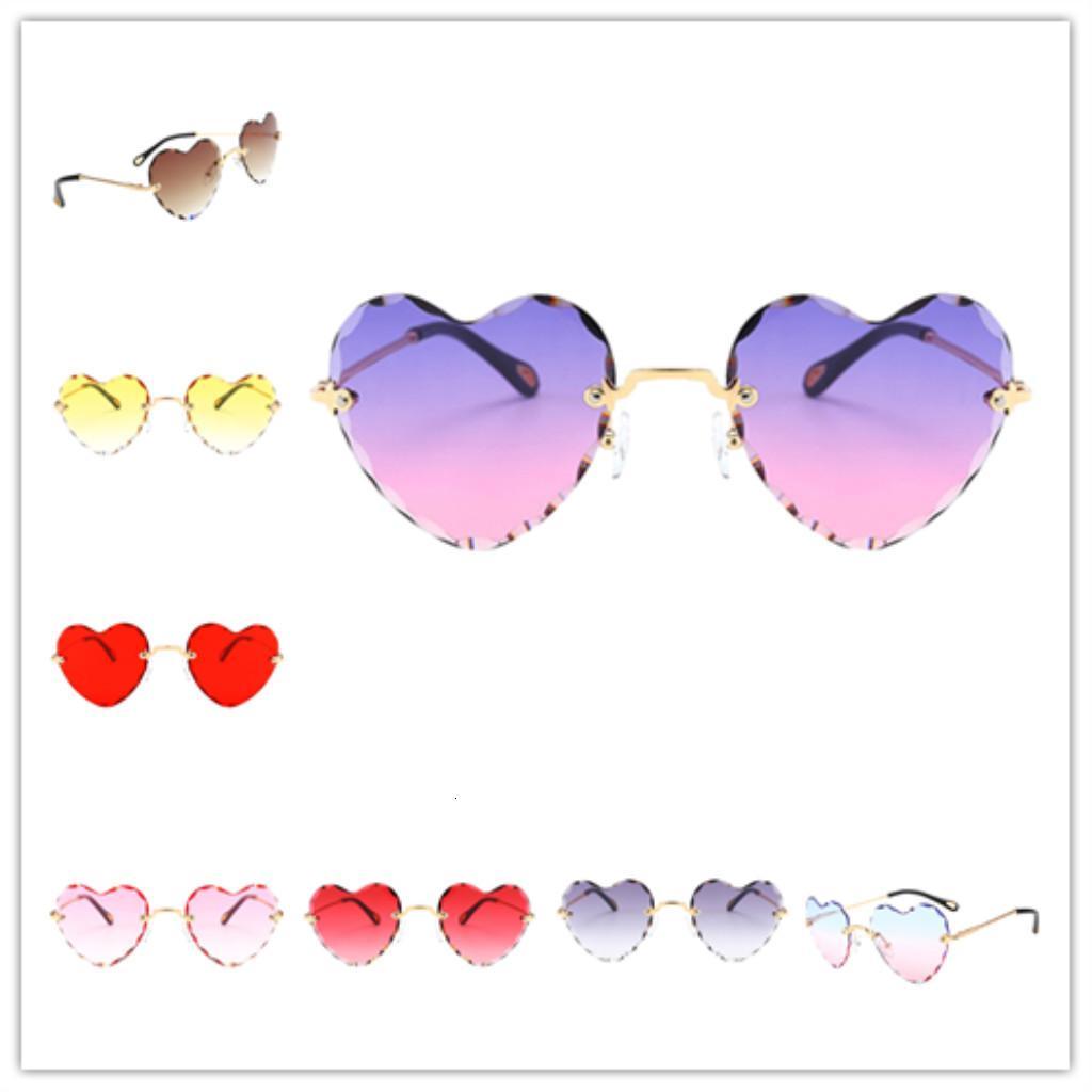Güneş Kadınlar Şık Kalp Şeklinde Çerçevesiz Güneş Gözlüğü Ince Metal Çerçeve UV Koruma Güneş Gözlükleri Plaj Tatil Festivali Balıkçılık