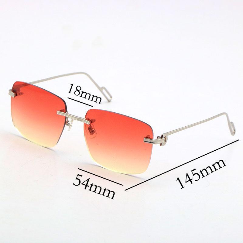 2021 New Style Occhiali da sole senza montatura Hot T8200816A Unisex delicato occhiali di moda in metallo occhiali da sole per bicchieri di guida c vetri c decorazione lente blu