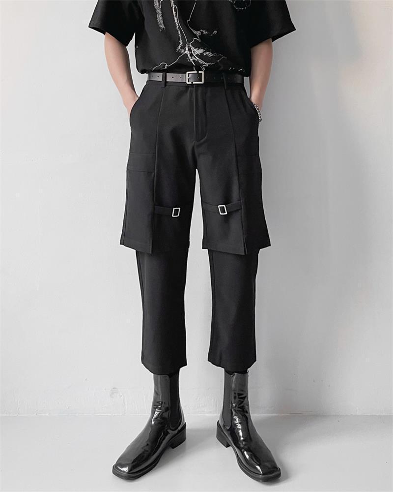 Fashionista 로고 금속 단추 카프리스 봄 여름 사계절 부재 거짓 두층 작은 발 남성 바지를위한 작은 발 부족