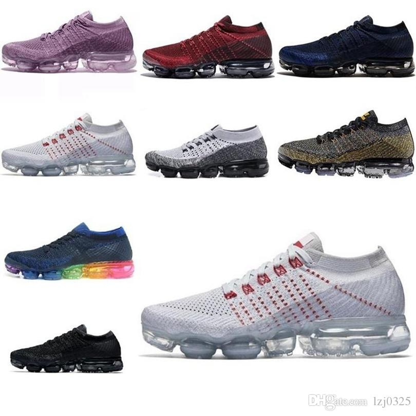 Nike air VM Vapormax 2018s zapatos botas hombres mujeres negras metálico oro blanco núcleo crema gris oreo deportes atlético 2017s zapatillas de deporte tamaño 5.5-11 k264 dhx-h168
