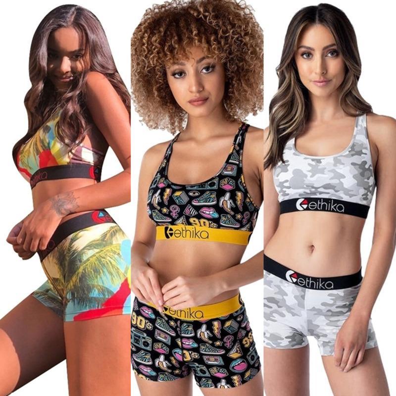Moda para mujer Juego de ocio de dos piezas Traje de baño de dos piezas Trajes de baño Sexy Bras Tanque Top Swim Shorts Troncos Trajes de baño floral Natación G559FWF