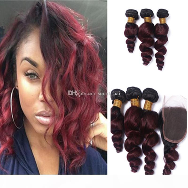 Vin rouge # 1B 99J baguettes de cheveux avec fermeture en dentelle 4 pcs lot root foncé ombre brésilien lâche vague cheveux tissés avec fermeture libre