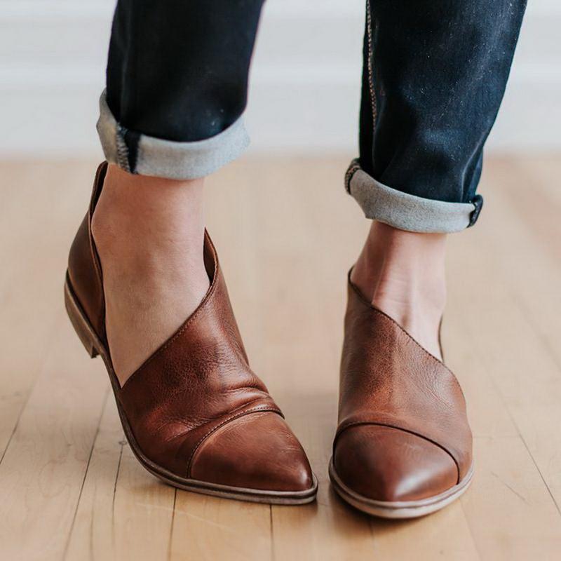 Monerffi Drop Moda kadın Flats Düşük Topuk Kesip Kayma Sivri Burun Blok Sandal Ayakkabı Sandalet