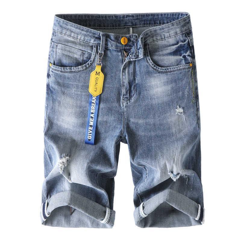 Hombres blueBlue Denim Shorts 2021 Verano Nuevo Negocio Casual Estirar else Jeans Moda Moda Gat Trendy Brand Broek