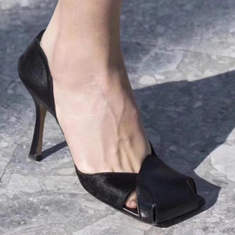 Patchwork High Tacones para mujer Zapatos de mujer Cuero Bombas de cuero Damas Taconas Mujer Square Toe Talon Salto Alto Vestido feminino