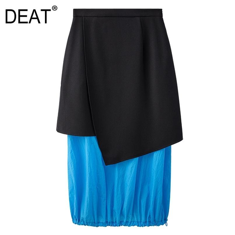 Hohe elastische Taille Halbkörper Rock Frauen Asymmetrische Patchwork Falten gerade Slim Fit Mode Sommer 7E60 210512