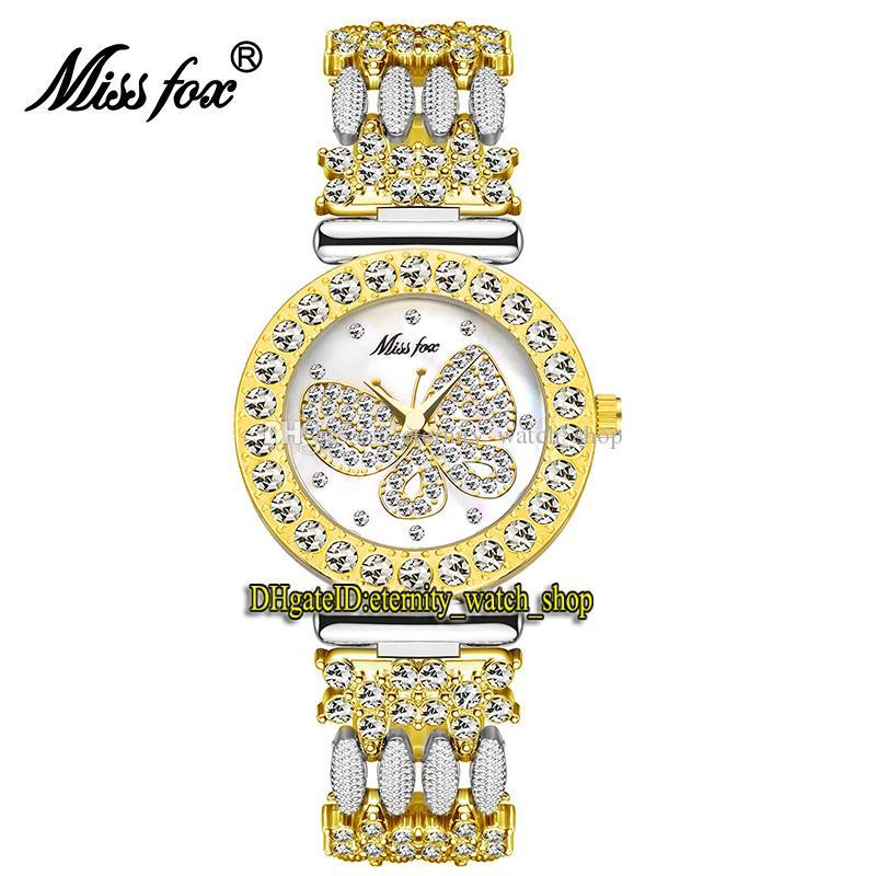 MissFox Eternidade 2030 Lazer Moda senhora Relógios CZ Diamantes Inlay Borboleta Padrão Padrão Dial Quartz Movimento Das Mulheres Relógio Liga de Liga Diamante Dois Tom Pulseira
