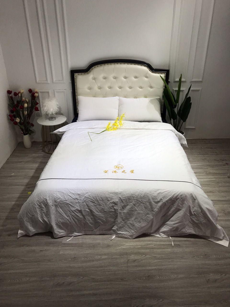 Hotel Hotel Cotton Satin Four-Piece Set 60 Jet Cotton Embroidered Logo Processing Customized 4-Piece Set