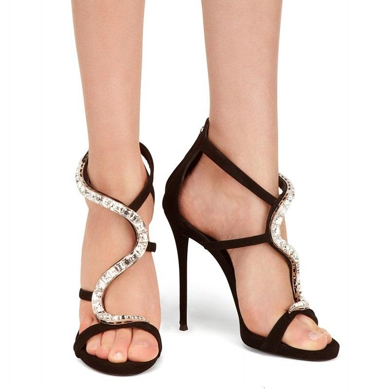 Sandalet Yaz Stil Sandalet Stiletto Açık Toe Yüksek Topuk Kadın Deri Rhinestone Roma Moda Ayakkabı
