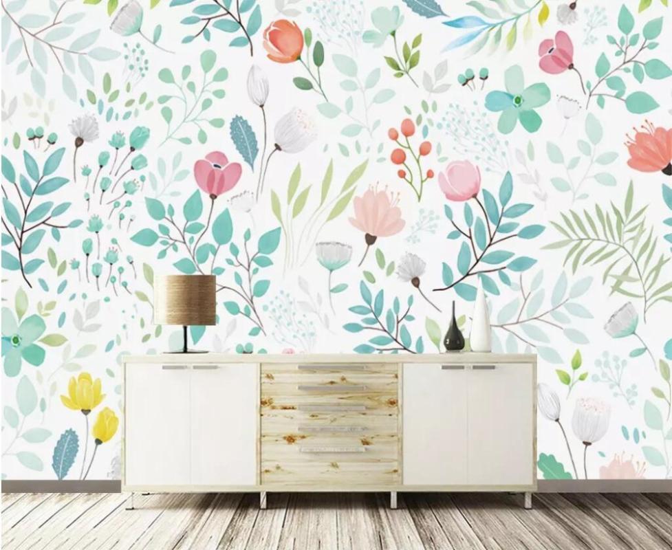 Fonds d'écran personnalisé Po pour Wall 3D Fond d'écran Nordic peint à la main européenne fleurs salon télévision arrière-plan de la chambre au sol