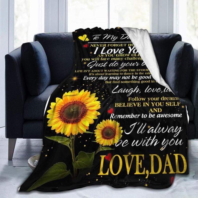 Blankets Sunflower To My Daughter From DAD Throw Fleece Blanket Flannel Ultra Soft Lightweight Microfiber Luxury Air Conditioner Quilt