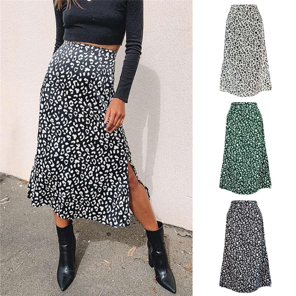2020 Falda de las mujeres de verano de la moda de la moda de la impresión de la cintura alta Faldas divididas de la cintura coreana para mujer Midi Becerta falda Punk Streetwear