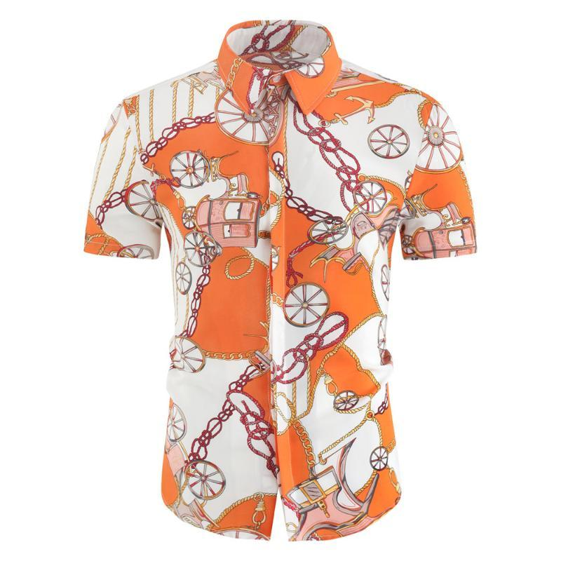 Mens Verão Camisas Casuais Slim Impressão de Manga Curta Algodão Confortável Flor Hawaiian Beach Plus Size M-4XL Men's