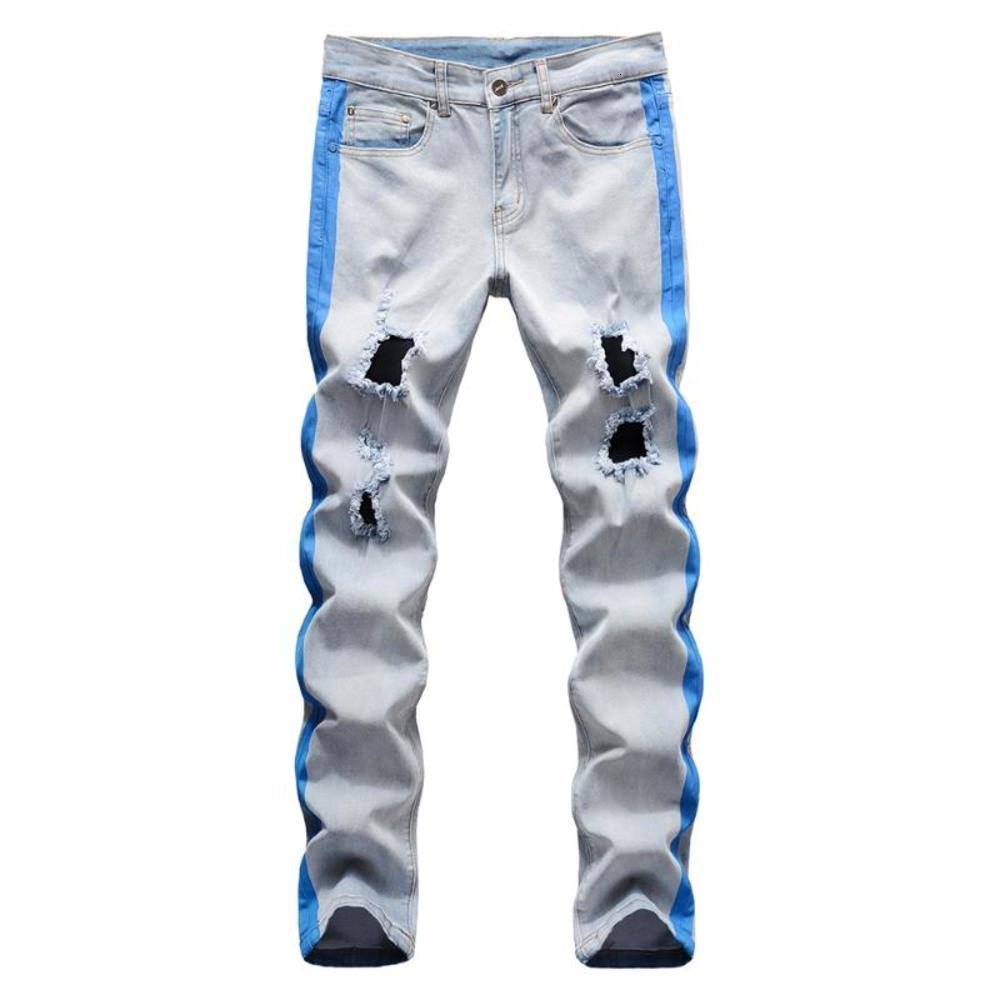 Men's Stretch Denim Ripped Jeans Stripe Lines Printed Holes Distressed Slim Straight Pants Trousers
