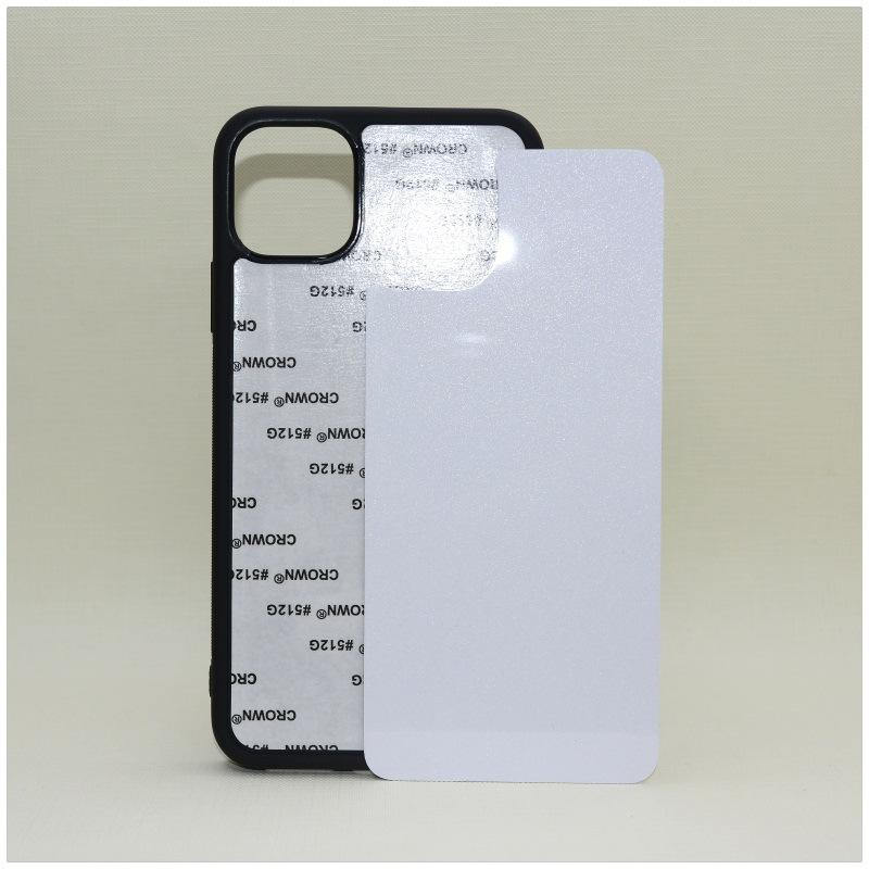 Caso de telefone de borracha de sublimação em branco 2D para iphone 13 12 11 Pro Max SE x xr xs com brilho shinny alumínio inserções