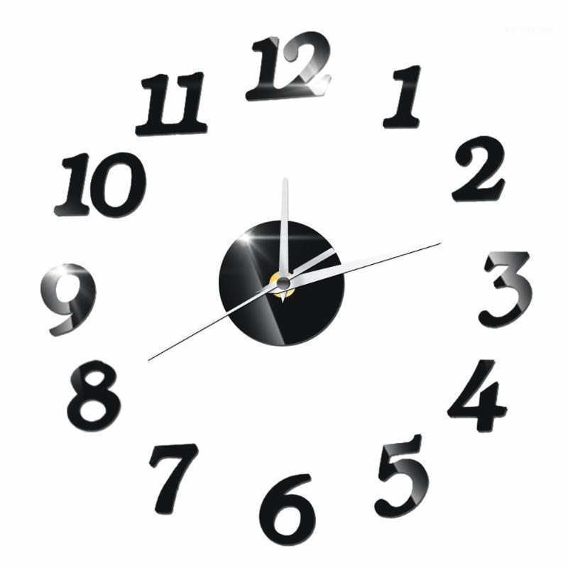 크리 에이 티브 아랍어 숫자 3D DIY 아크릴 벽시계 디지털 시계 거실 홈 장식 이동식 벽 스티커 데카 1