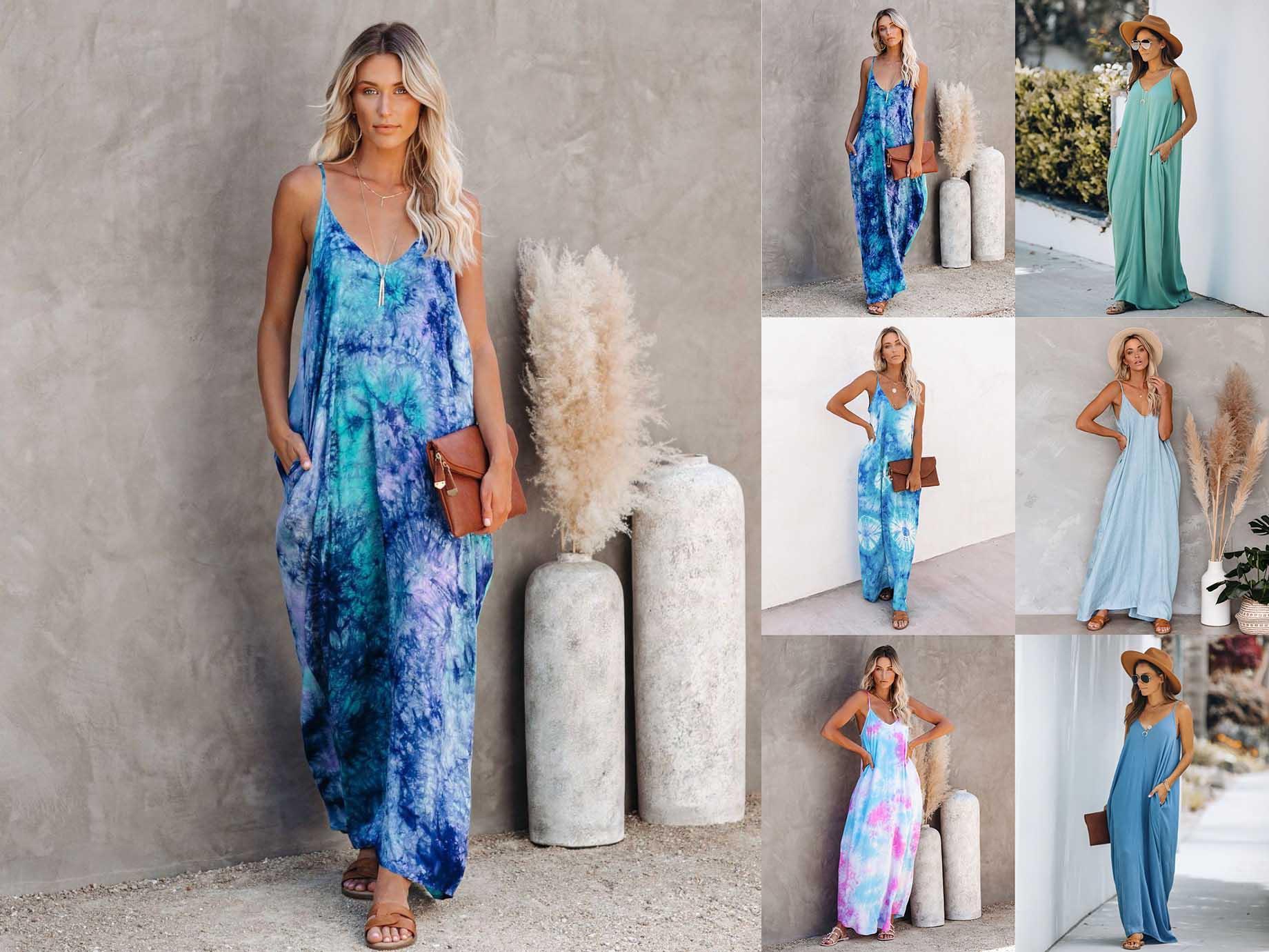 Günlük Elbiseler Bayanlar Moda Seksi Düşük Kesim V Yaka Kravat-Boya Baskılı Gevşek Baskı Elbise 6 Renkler S-2XL