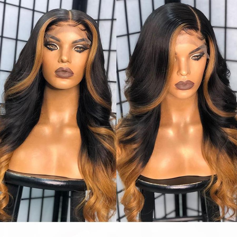 Glueless Ombre Destaque 13x6 Rendas Front Human Human Human Wigs com cabelo Baby Brazilian Lace Wig Loira 360lace Wig frontal Natural