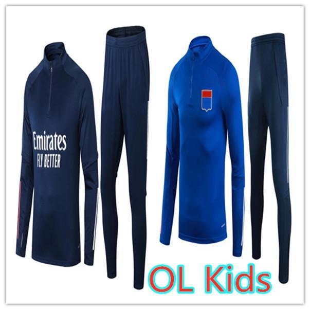 21 22 Crianças Futebol Tracksuit Futebol Formação Terno 2021 2022 Criança Aouar Dembele Memphis Cherki Jaqueta Enfant Surviting Chandal Jogging